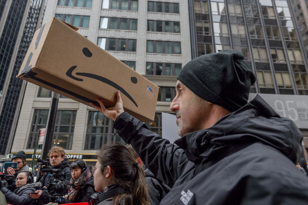 amazon hq2 in queens | rally against amazon hq2 in queens | teamsters amazon | amazon unions | amazon hq2scam