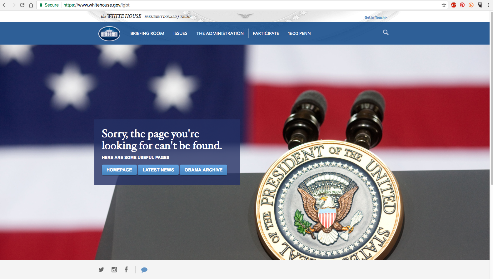 "|<image-caption></p> <p>The LGBT page does not exist on the new White House website.</p> <p></image-caption>|whitehouse.gov/lgbt"" title=""