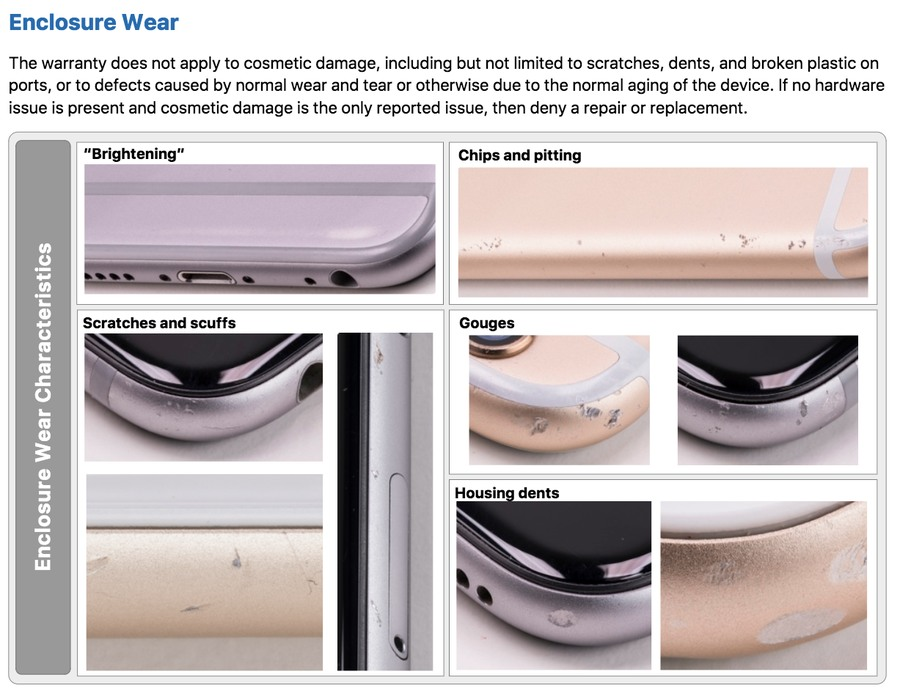 eaked Apple Document Visual/Mechanical Inspection Guide eligible for free repair or replacement