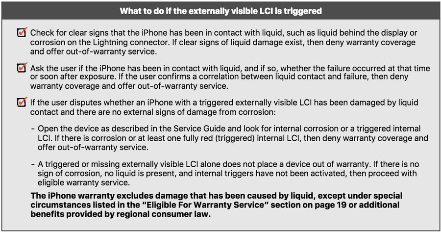 eaked Apple Document Visual/Mechanical Inspection Guide eligible for free repair or replacement water damage