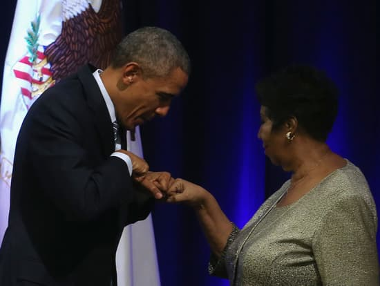 President Barack Obama and Aretha Franklin