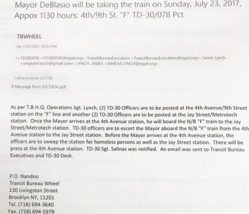 Email proves homeless removal order before mayor's subway ride: Report