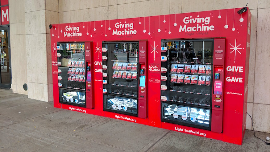 giving machines vending machines giving tuesday charity christmas spirit church of jesus christ of latter day saints