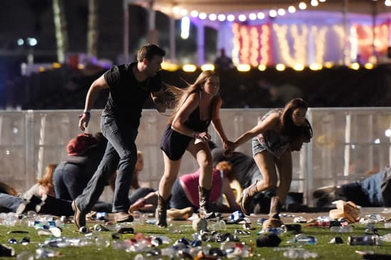 People running from the Las Vegas shooting