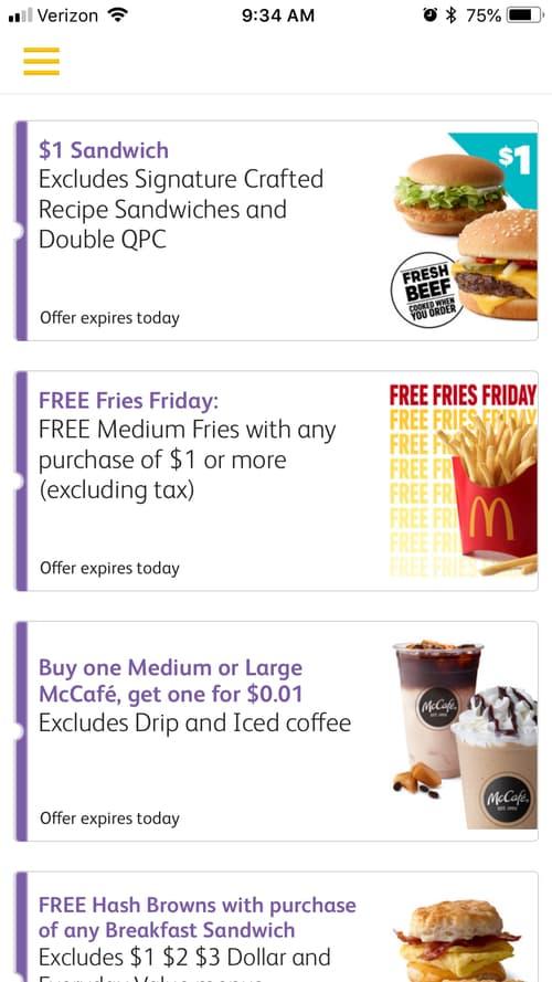 Mcdonald's app deal page