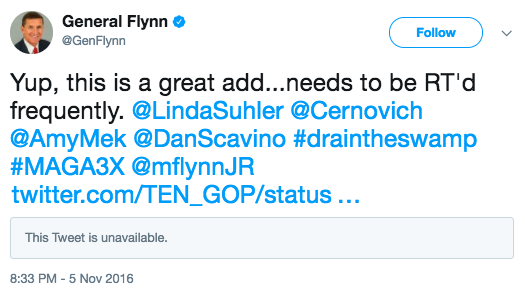 Michael Flynn Russian Troll Accounts Ten GOP