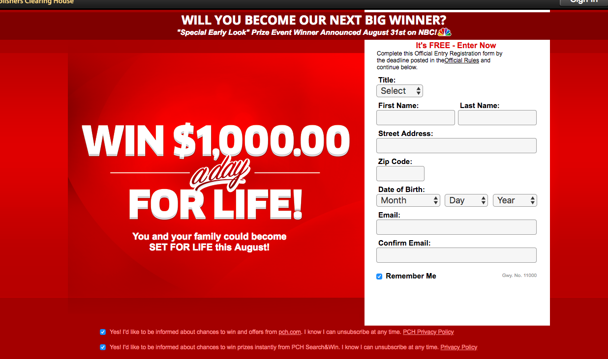 Publishers Clearing House form